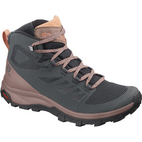 Salomon Outline Mid GTX Calzado Mujer, ebony/deep taupe/tawny orange